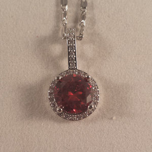 Jewelry - White Gold Ruby Red Topaz Zircon Pendant Necklace